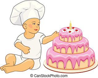 Cute baby confectioner with birthday cake. Vector...