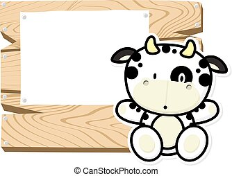 cute baby cow frame