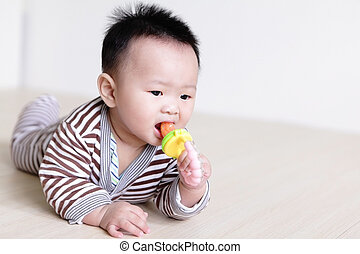Cute Baby crawling on living room floor