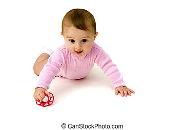 Cute Baby Crawling with Toy