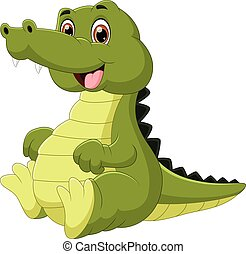 cute baby crocodile cartoon on white background2741.eps