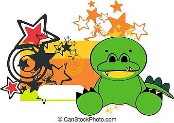 cute baby crocodile cartoon sticker