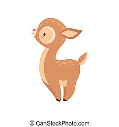 Cute Baby Deer, Adorable Forest Fawn Animal side View Vector Illustration