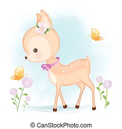 Cute baby deer and butterfly hand drawn animal cartoon illustration