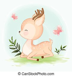 Cute baby deer hand drawn animal illustration watercolor background