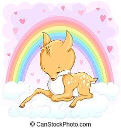 Cute baby deer. Hand drawn vector cartoon  illustration.