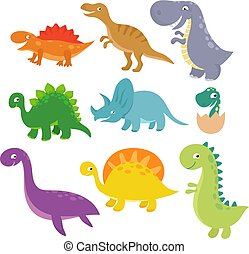 Cute baby dino vector characters isolated vector set....