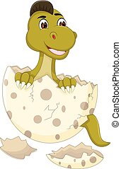 cute baby dinosaur hatched cartoon standing with smile -...