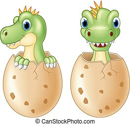 Cute baby dinosaur hatching, isolat - ancient, animal, baby,...