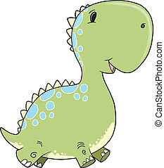 Cute Baby Dinosaur Vector Art