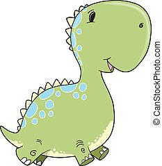 Cute Baby Dinosaur Vector Art