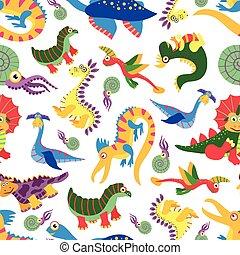 Cute baby dinosaurus pattern. Dinosaur cartoon jurassic predator vector background