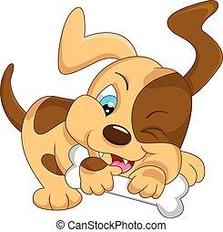 cute baby dog cartoon with bone - illustration of cute baby...
