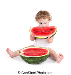 Cute baby eating a watermelon, on white backgroud