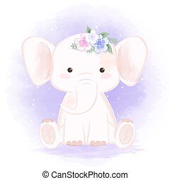 Cute baby elephant and bouquet hand drawn cartoon watercolor illustration
