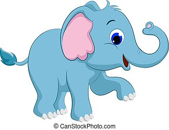 Cute baby elephant cartoon Vector illustration on white background