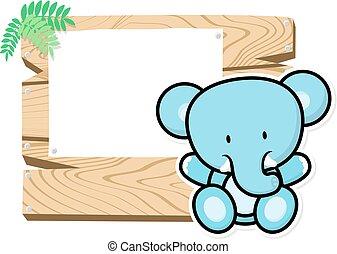 cute baby elephant frame