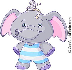 Cute Baby Elephant - Illustration of cute baby elephant boy