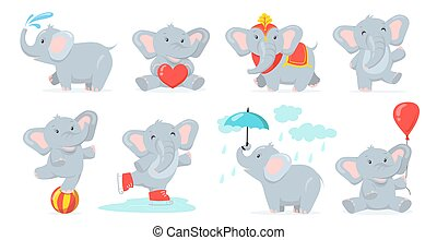 Cute baby elephant set