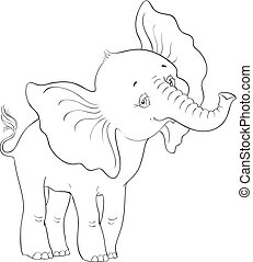 Cute baby elephant standing coloring page