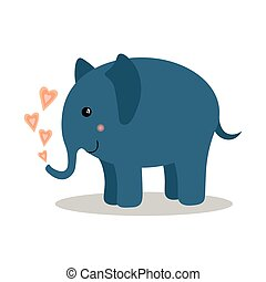 Cute baby elephant with hearts