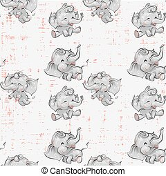 Cute baby elephants seamless pattern hand drawn vector illustration. Can be used for print, kids wear fashion design, baby shower invitation card.