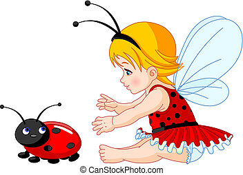 Cute baby fairy and ladybug - The little fairy girl tries to...