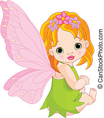 Cute baby Fairy  - Sitting cute Baby fairy