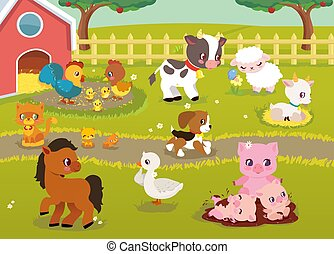 Cute Baby Farm animals with village landscape - cow, pig, sheep, horse, rooster, chicken, hen, goose, goat, cat, dog. Cute cartoon vector illustration in flat style