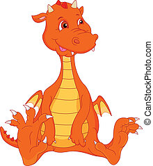 cute baby fire dragon cartoon
