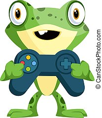 Cute baby frog holding a joystick, illustration, vector on white background.