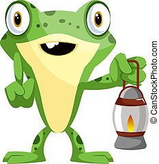 Cute baby frog holding a lamp, illustration, vector on white background.
