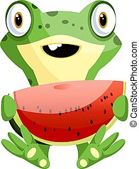 Cute baby frog holding a watermelon, illustration, vector on white background.