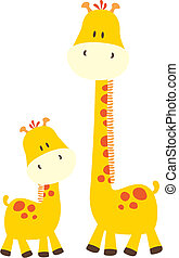 cute baby giraffes - isolated baby animal, individual ...