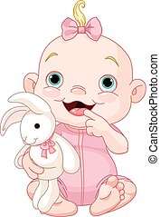 Cute baby girl  - Adorable baby girl holding bunny toy