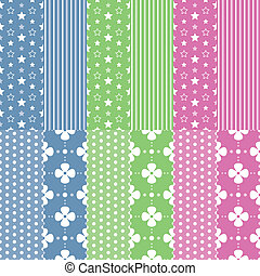 cute baby girl and boy pattern set