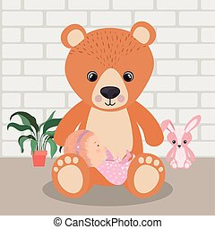 Cute baby girl and teddy bear vector design