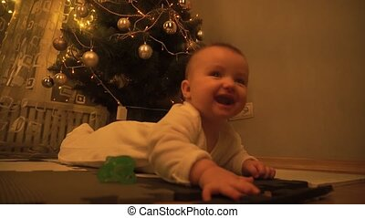cute baby girl at christmas eve