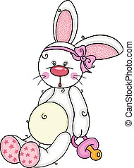 Cute baby girl bunny holding a pacifier