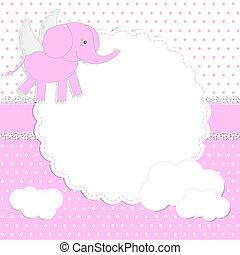 Cute baby girl card with elephant-angel