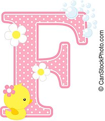 cute baby girl duck initial f