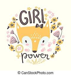 Cute baby girl fox. Hand drawn vector illustration. For kid's or baby's shirt design, fashion print design, graphic, t-shirt, kids wear.