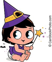 Cute baby girl in Halloween witch costume - Vector...