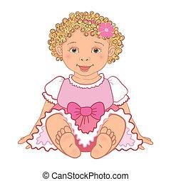 baby girl in pink dress Happy princes Vector