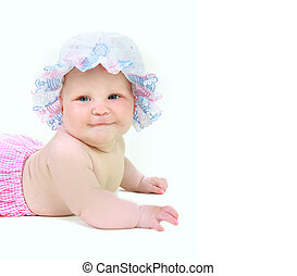 cute baby girl in summer hat over white