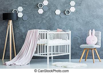 Cute baby girl interior