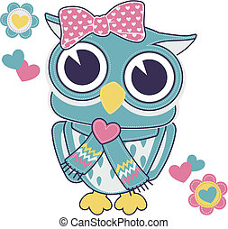 cute baby owl girl with backstitch isolated on white background