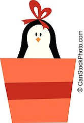 Cute baby girl penguin carrying a gift box vector or color illustration