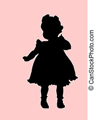 Cute baby girl - Silhouette of baby girl. Black clipping ...