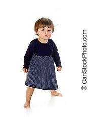 Cute baby girl standing up